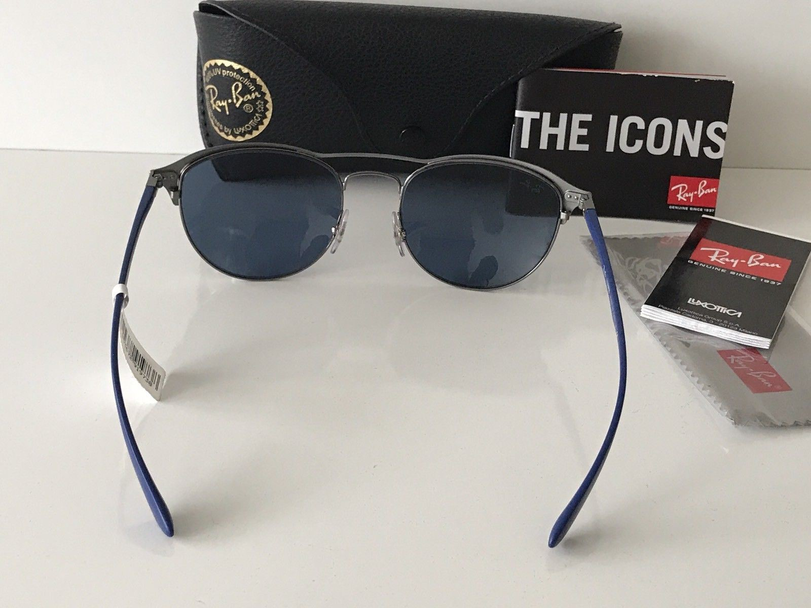 6118202edc1 NWT Ray Ban Sunglasses RB 3596 9005 80 Gunmetal on top Matte Blue Frame  Italy