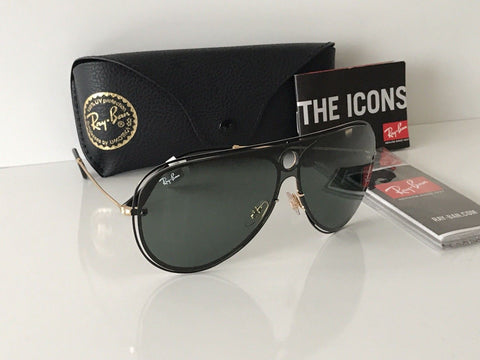 NWT Ray Ban RB3605N 187/71 TOP SHINY BLACK ON GOLD  Pilot Sunglasses Italy