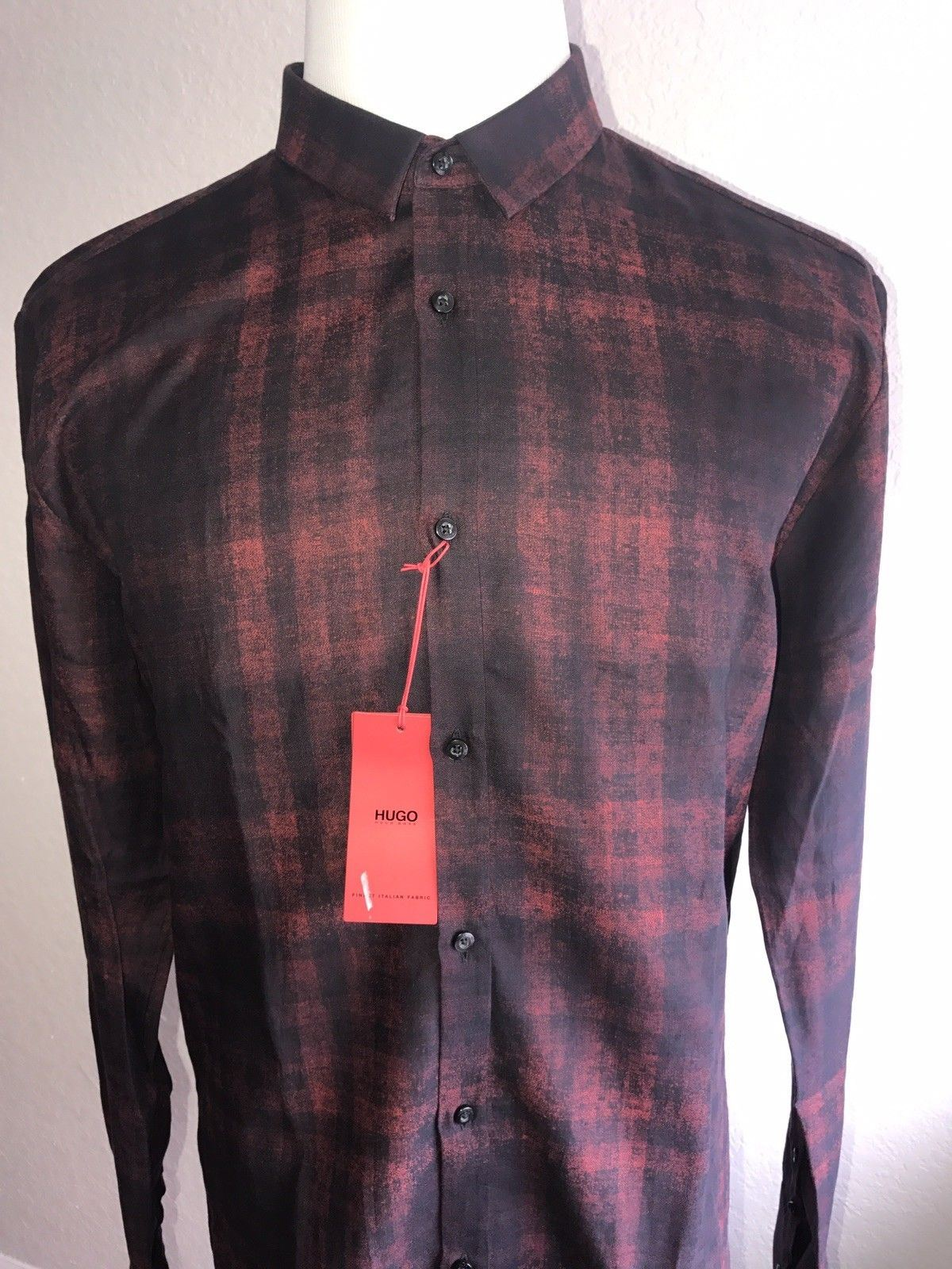 NWT $195 BOSS Hugo Boss Mens Bright Red Slim Fit Dress Shirt Size M HM-005