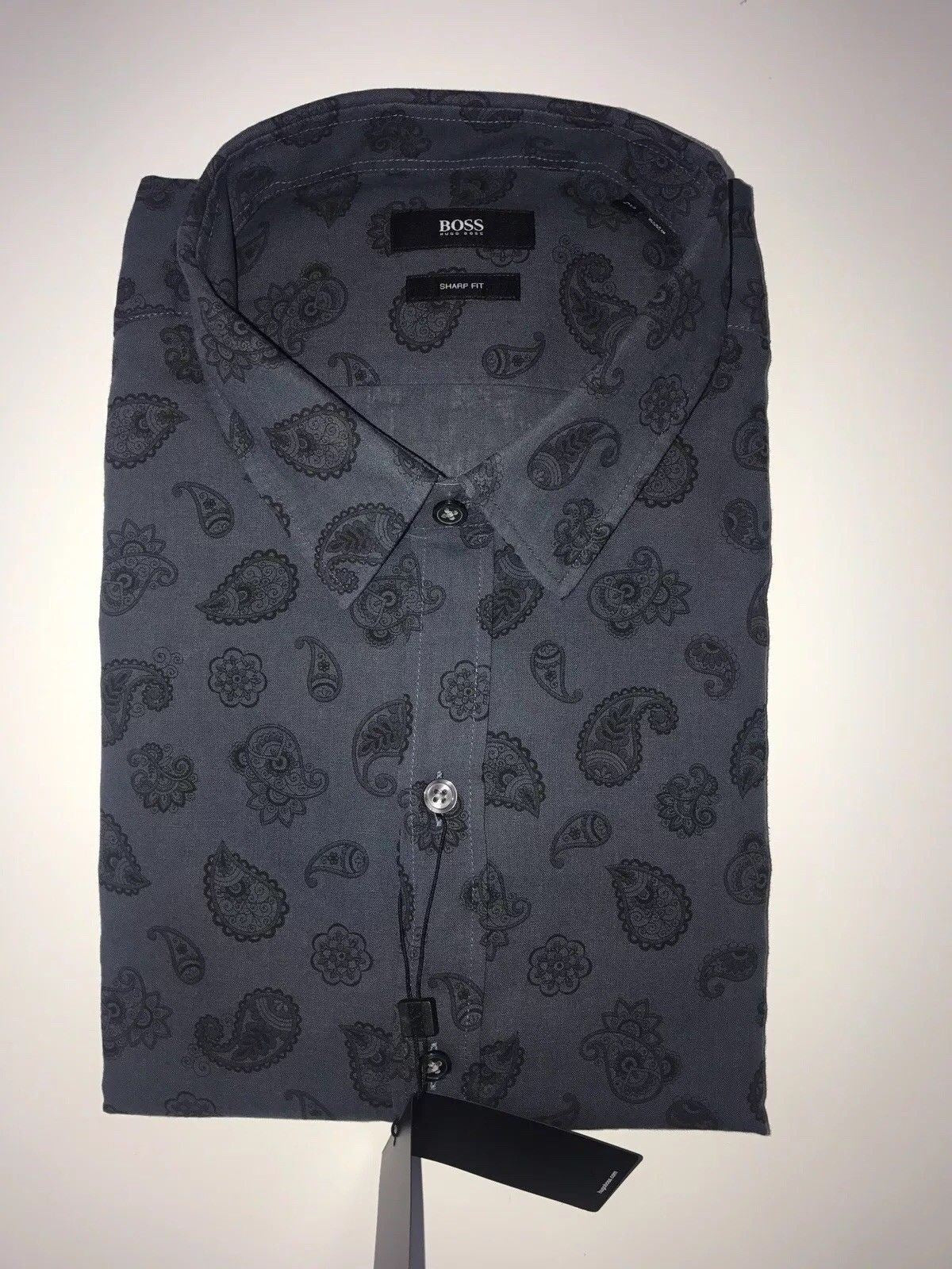 NWT $175 BOSS Hugo Boss Robbie Mens Sharp Fit Linen Cotton Dress Shirt  Size 2XL