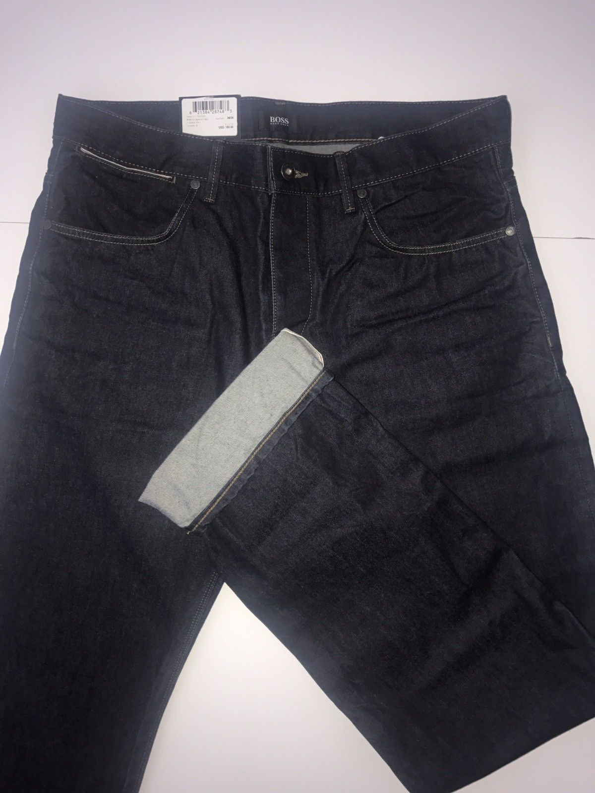 NWT $235 Hugo Boss Mens Maine1 Cotton Regular Fit  Navy Jeans Pants Size 36/34
