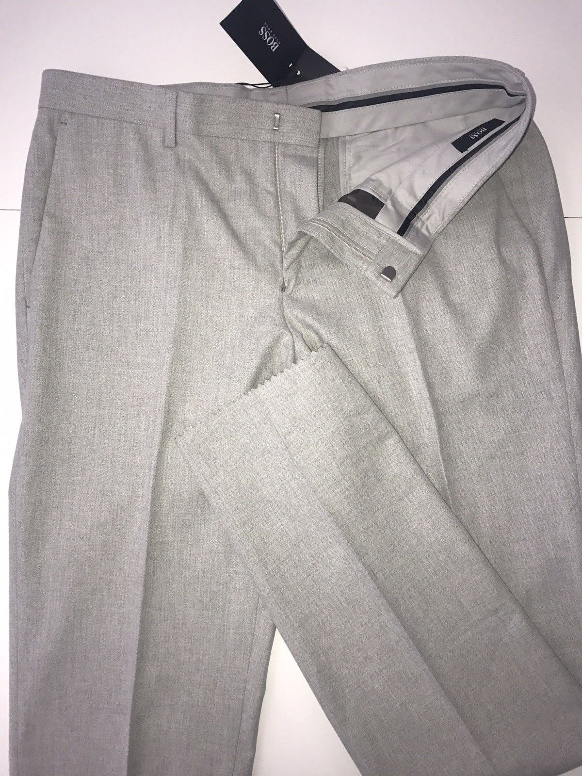 NWT $195 Boss Hugo Boss Melancey1 Mens Cotton Open White Dress Pants Size 34R US