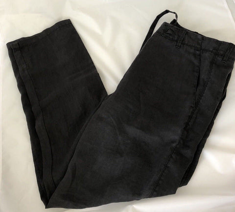 NWT $155 Boss Hugo Boss Floyd-D Black Casual Mens Linen Pants 46 Euro (30 US)