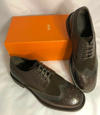 NIB $375 Boss Hugo Boss Weekel Men's Leather/Suede Shoes Brown 11 US Handmade