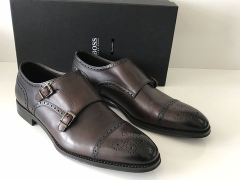 NIB $695 Boss Hugo Boss T-Leopold Tailored Mens Brown Leather Shoes 10.5 US IT