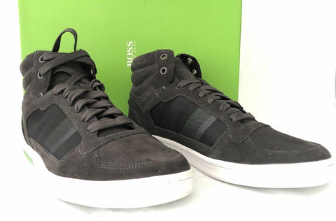 NIB $245 Boss Hugo Boss Ray Mid Tex Men's Suede High Top Sneakers Gray 11 US