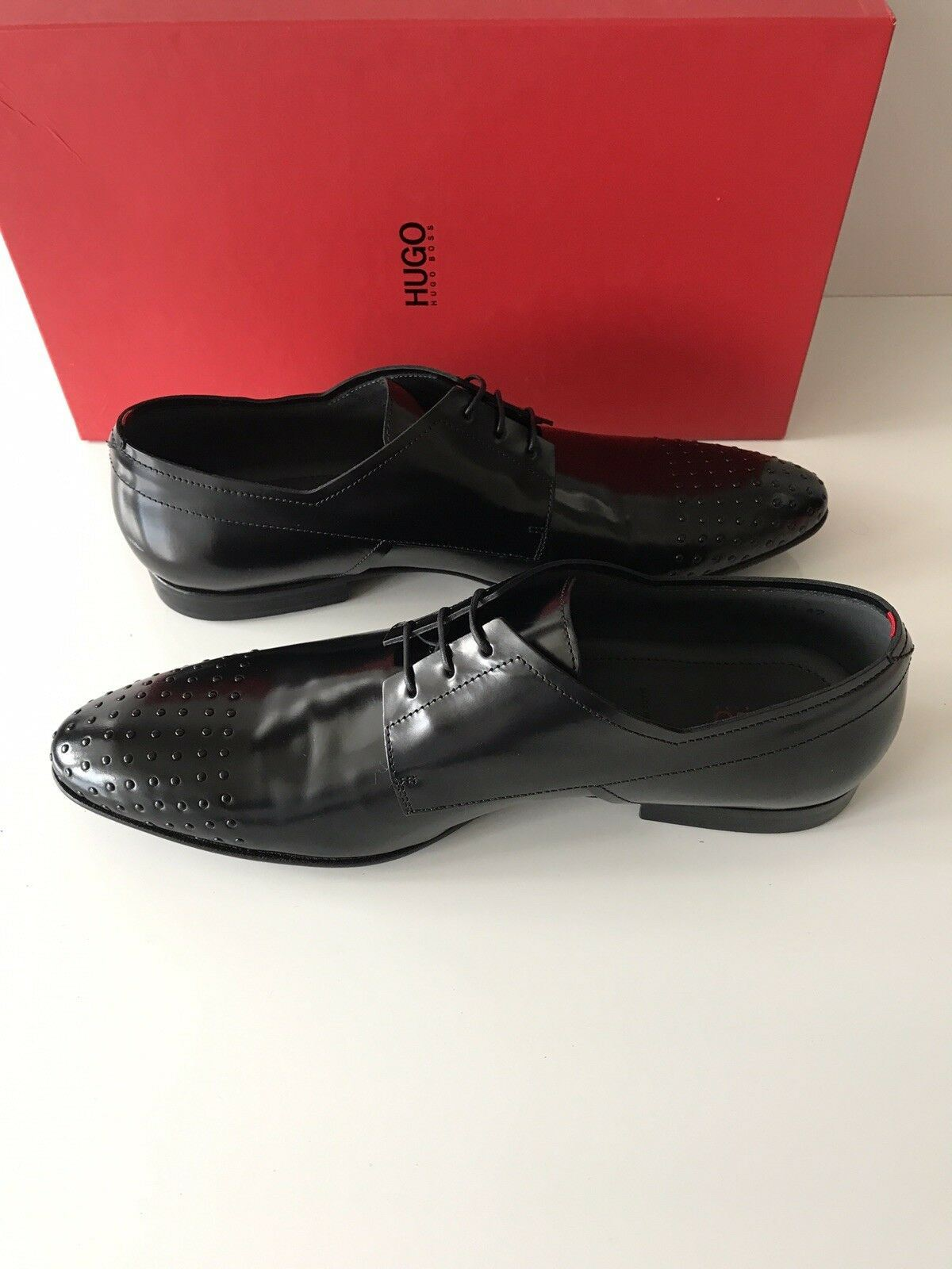 NIB $415 Boss Hugo Boss Drestuds Mens Oxford Black Leather Shoes 9 US Italy