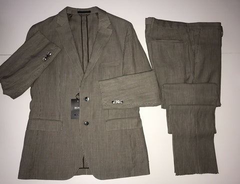 NWT $1595 Boss Hugo Boss T-Norten Tailored Suit Pastel Brown 44R US (54R Eu)