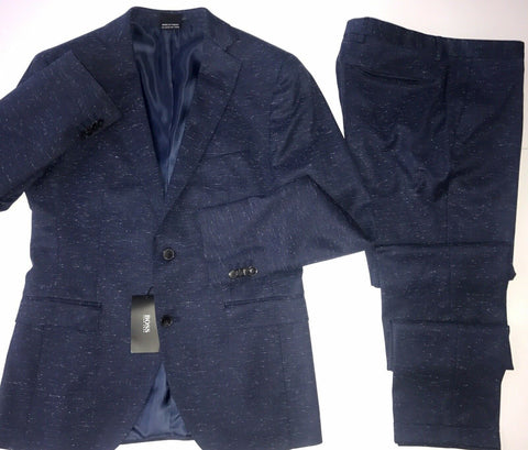 NWT $1295 Boss Hugo Boss Reyno2 Suit Blue 38R US (48R Eu) Wool/Cotton Stretch