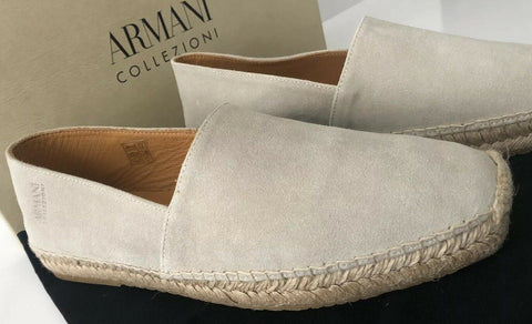 New $395 Armani Collezioni Espadrilla Mens Suede Loafers Shoes Sand 6 US X6S004