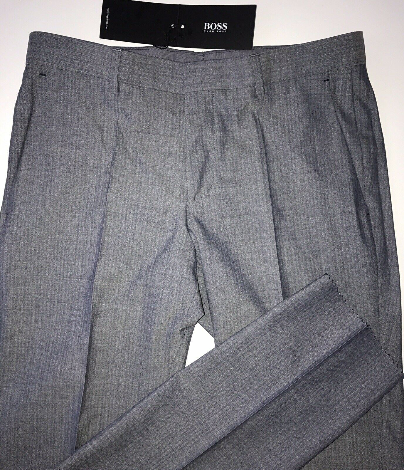 NWT $285 Boss Hugo Boss Melancey_1 Mens Open Blue Wool Dress Pants Size 30R US