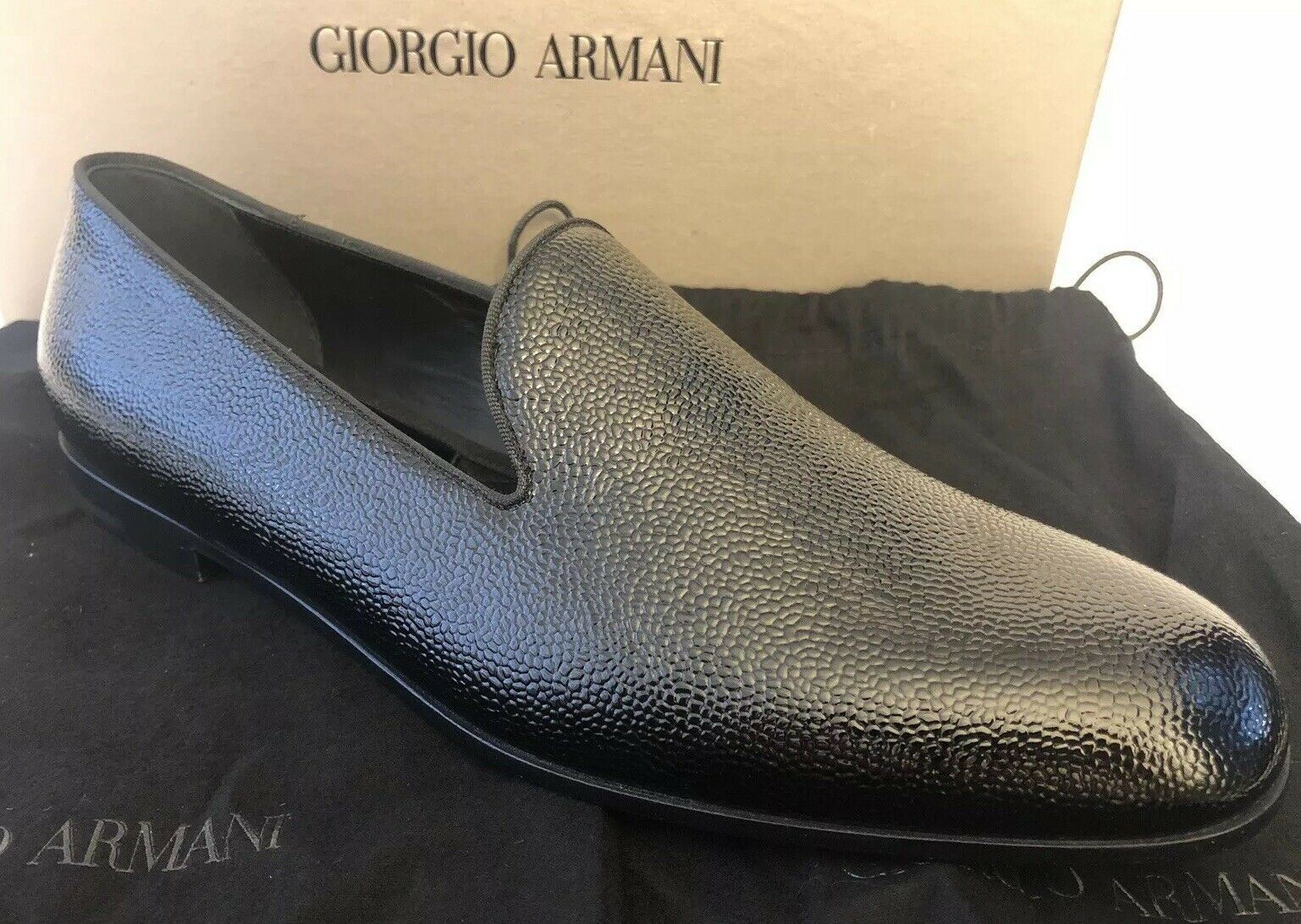 NIB $795 Giorgio Armani Leather Mens Textured Patent Slipper Shoes 13 US X2J007