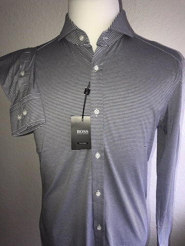 NWT $295 Hugo Boss T-Swan Mens Slim Fit Tailored Navy Dress Shirt Size 39 /15.5