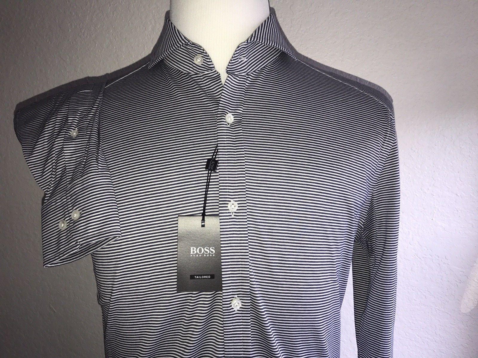 NWT $295 Hugo Boss Mens T-Swan  Slim Fit Tailored Navy Dress Shirt Size 37 /14.5