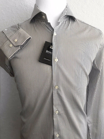 NWT $285 Hugo Boss Mens Tailored Slim Fit Dark Blue Stripe Dress Shirt 41/16