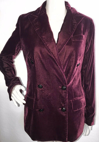 NWT Ralph Lauren Women Chianti Velvet Double Breasted Blazer Jacket Size 4