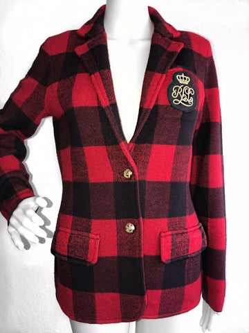 NWT Ralph Lauren Women Red Black Knit Blazer Jacket Logo Gold Crest Size L