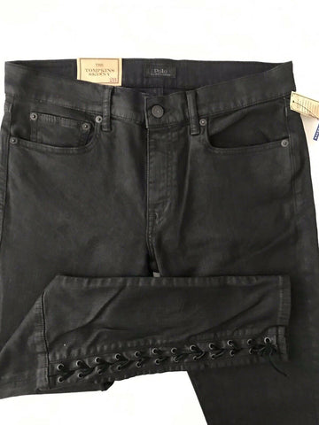 $245 NWT Ralph Lauren Women Tompkins Skinny Lace Up Cotton Black Jeans Size 28