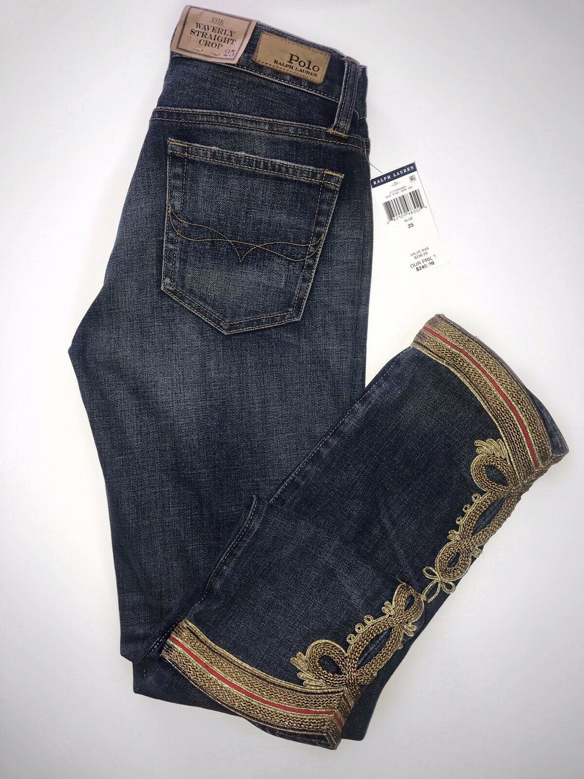 NWT $298 Polo Ralph Lauren Waverly Straight Crop Embroidered Blue Jeans Size 25