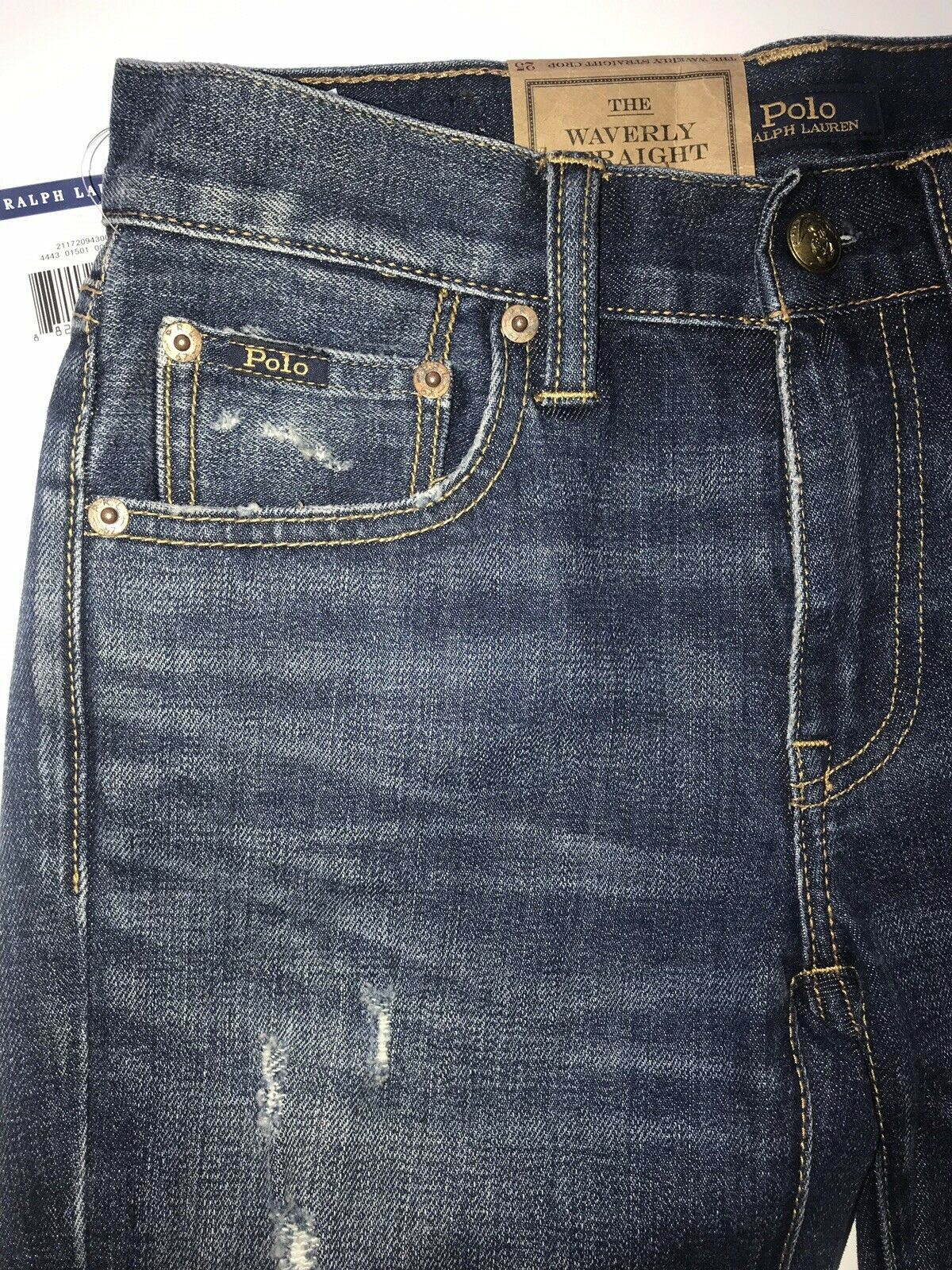 NWT $298 Polo Ralph Lauren Waverly Straight Crop Embroidered Blue Jeans Size 26
