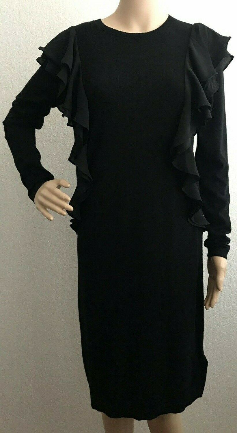 01b8d40ce79 NWT Polo Ralph Lauren Women s Black Ruffled Cotton Sweater Dress Size ...
