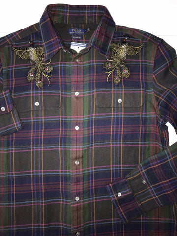 NWT $198 Polo Ralph Lauren Women Long Sleeve Button Dress Bird Shirt Size M