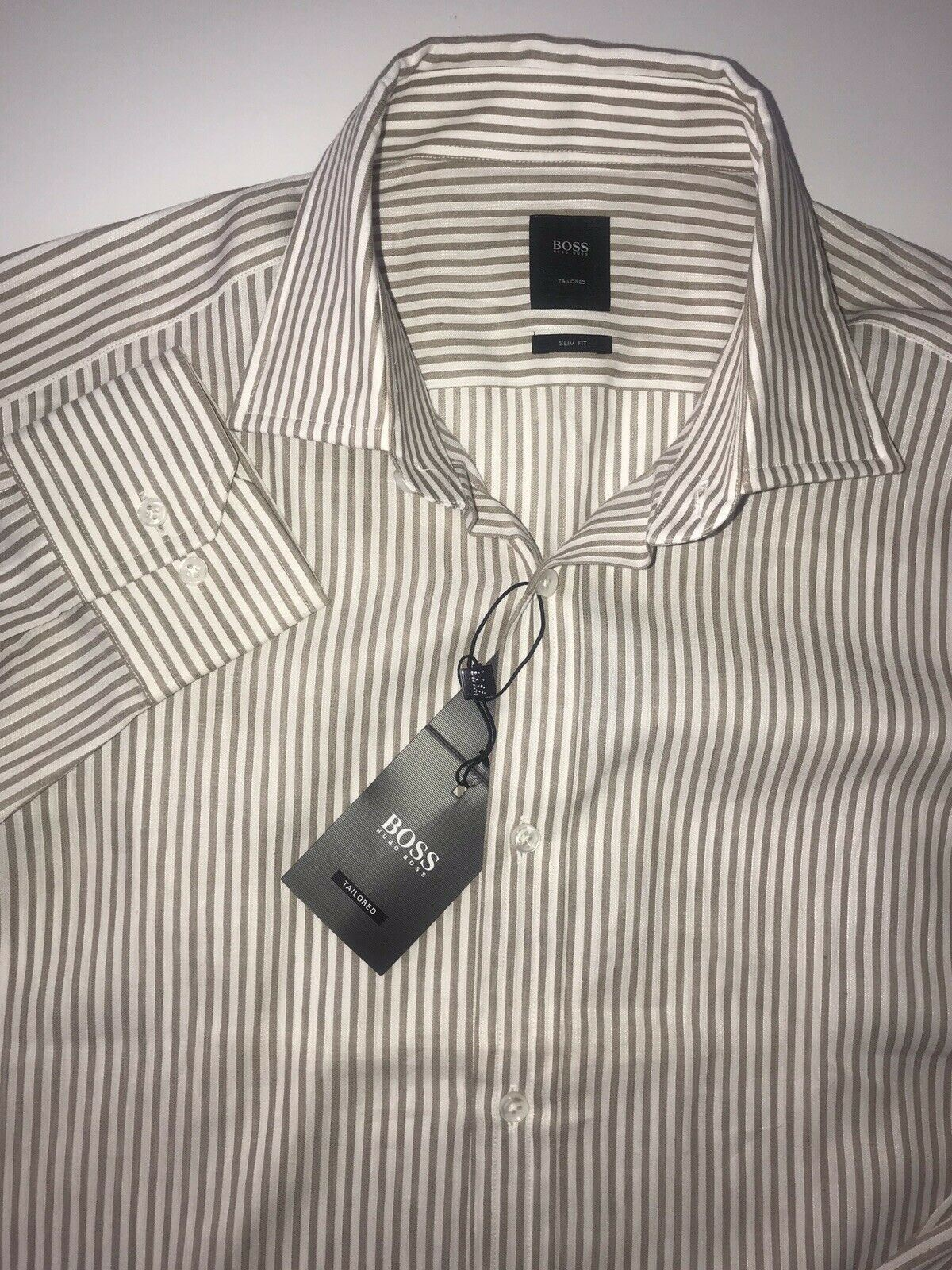 NWT $285 Hugo Boss Mens T-Shan Slim Fit Tailored Brown Dress Shirt Size 41/16