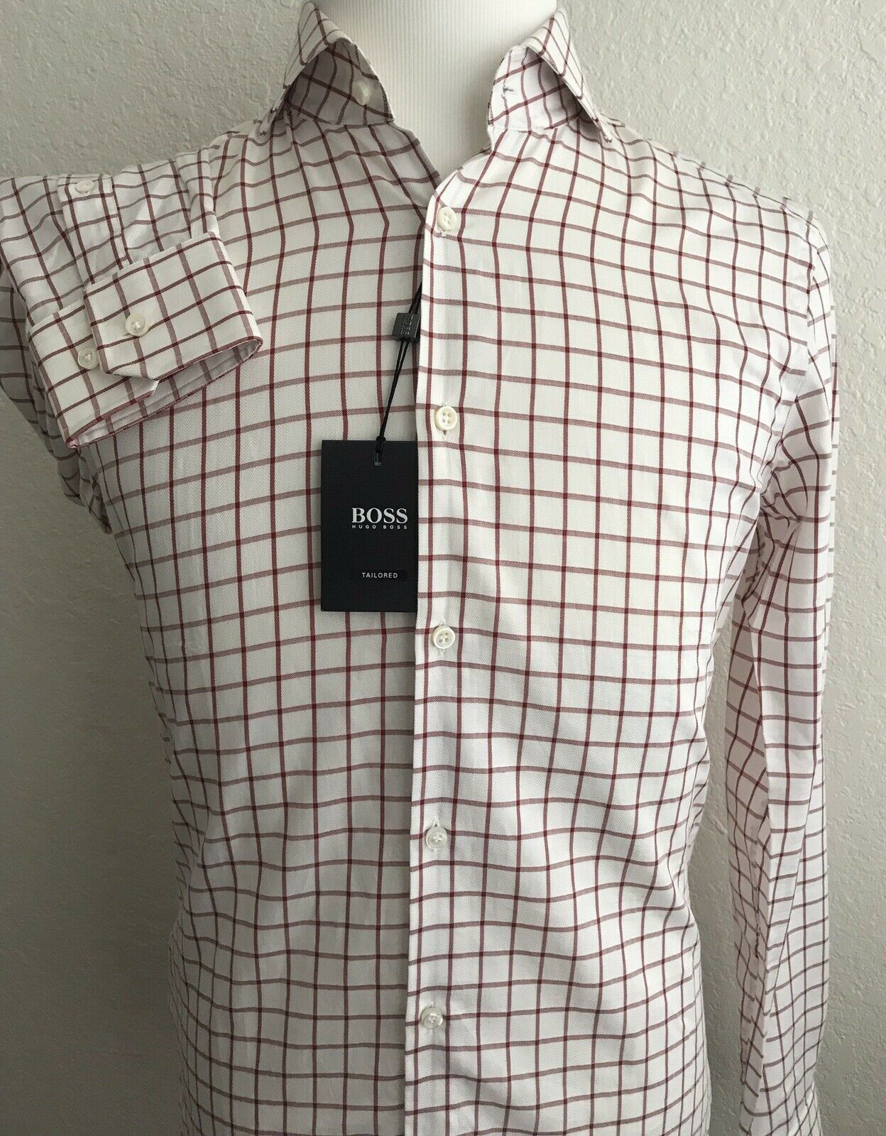 NWT $255 Hugo Boss Mens T-Shan Slim Fit Tailored Red Dress Shirt Size 37 /14.5