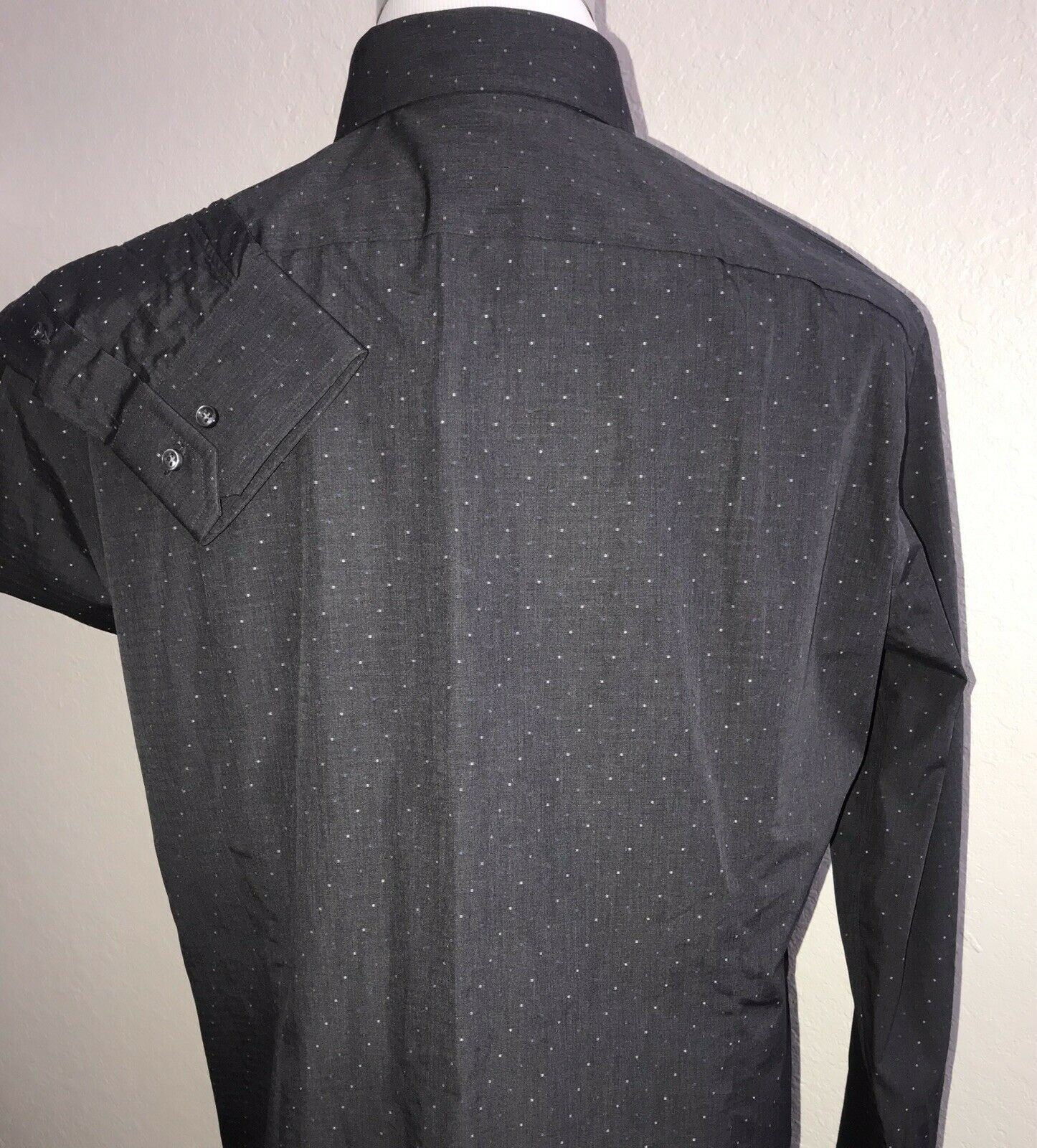 NWT $275 Hugo Boss Mens T-Shan Slim Fit Tailored Charcoal Dress Shirt  44/17.5