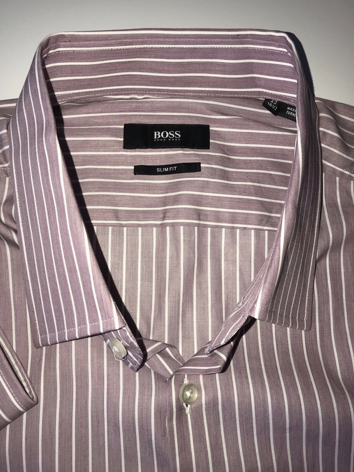 NWT $235 Hugo Boss Mens Jacob Slim Fit Tailored Red Dress Shirt Size 42/16.5