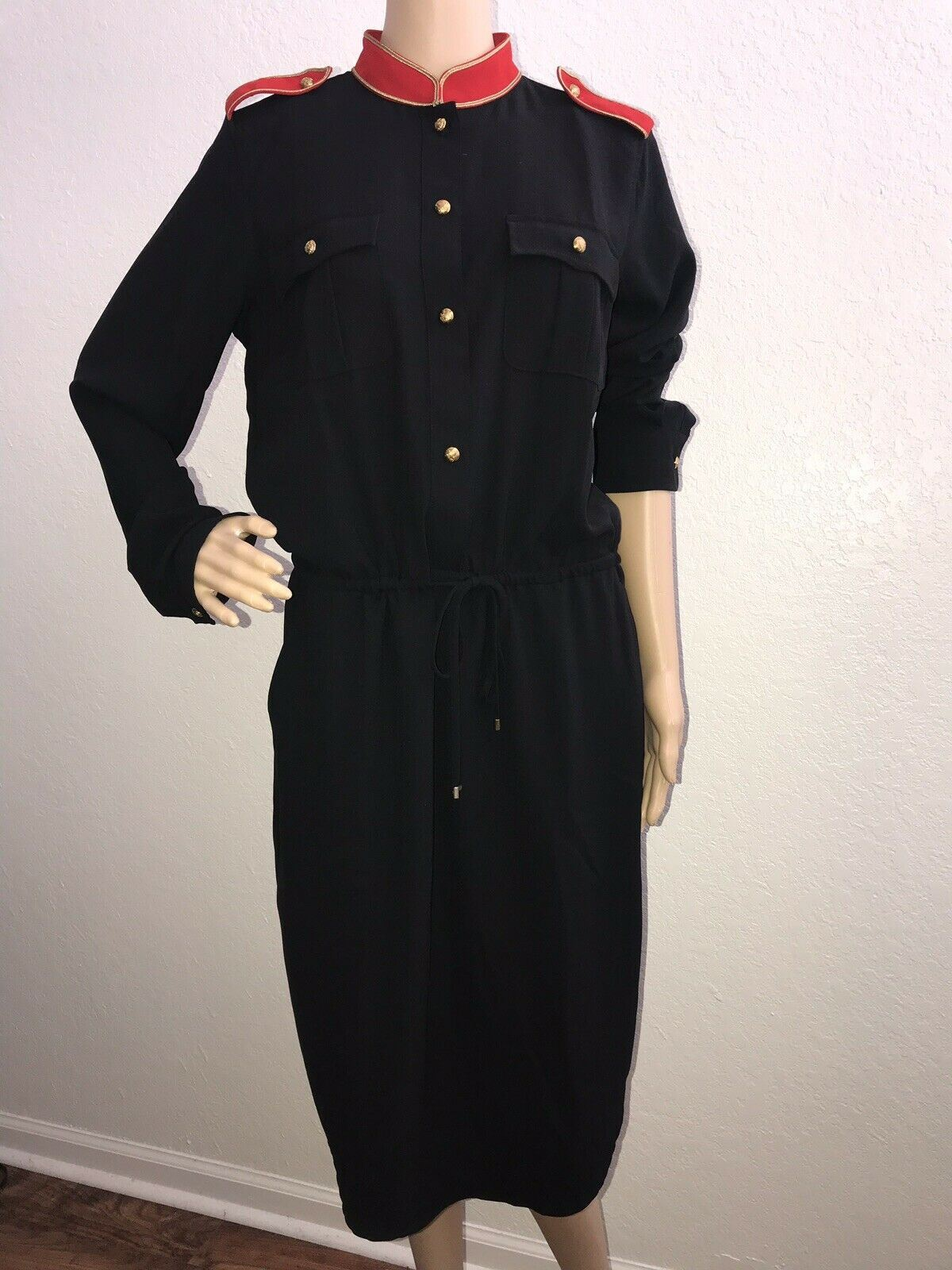 NWT $225 Polo Ralph Lauren Women's Black Georgette Shirt Dress Size 10