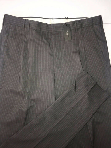 NWT $630 Prada Wool/ Linen Mens Gray Striped Dress Pants Size 34 Made in Italy