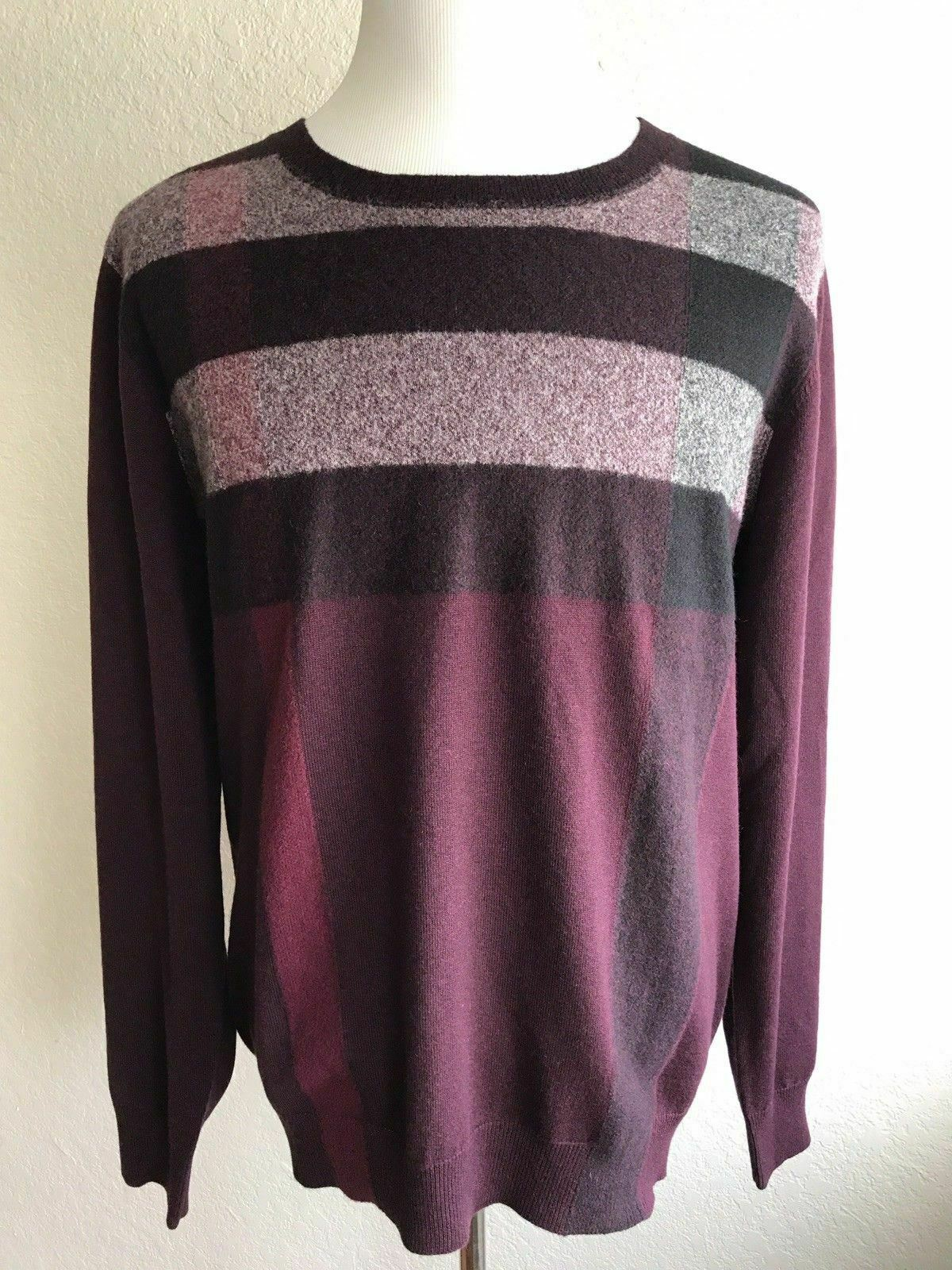 NWT $595 Burberry BRIT Burgundy Red Long Sleeves Cashmere/Cotton Sweater 3XL