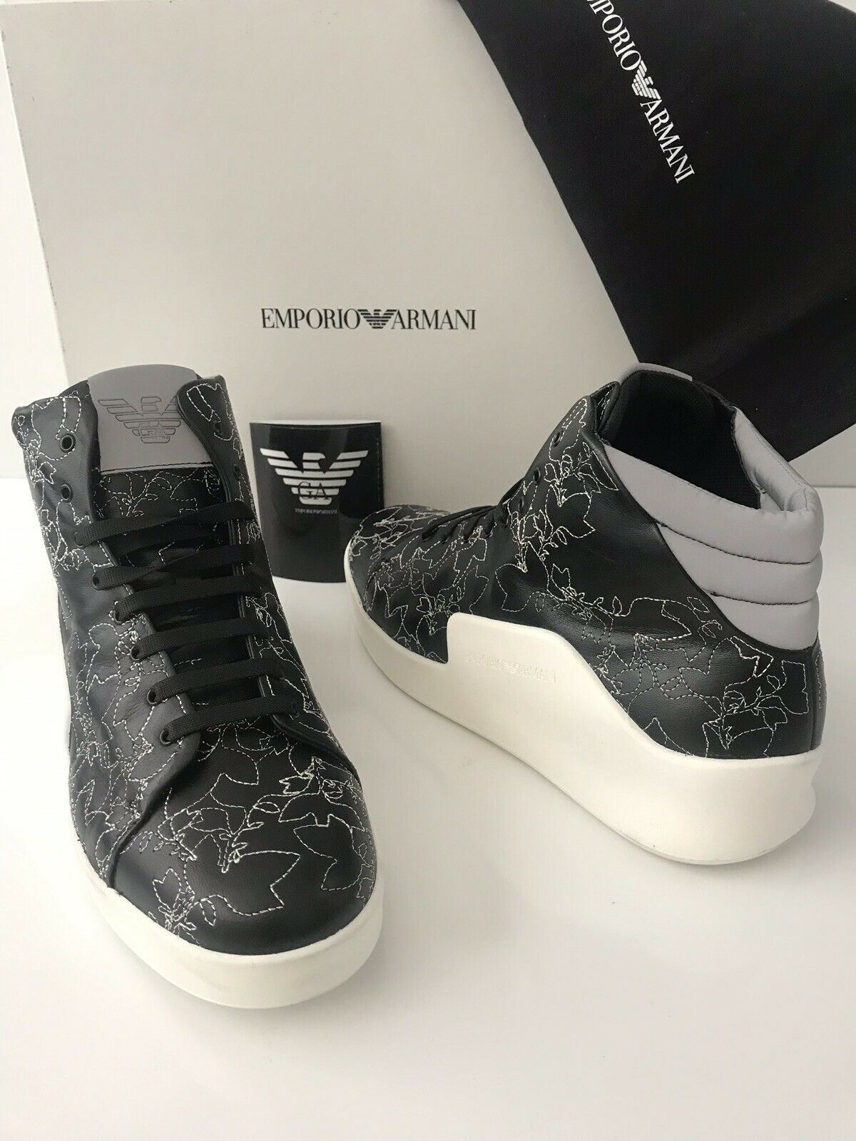 NIB $745 Emporio Armani Men's Floral Hi-Top Leather Sneakers Black 11 US /10 UK