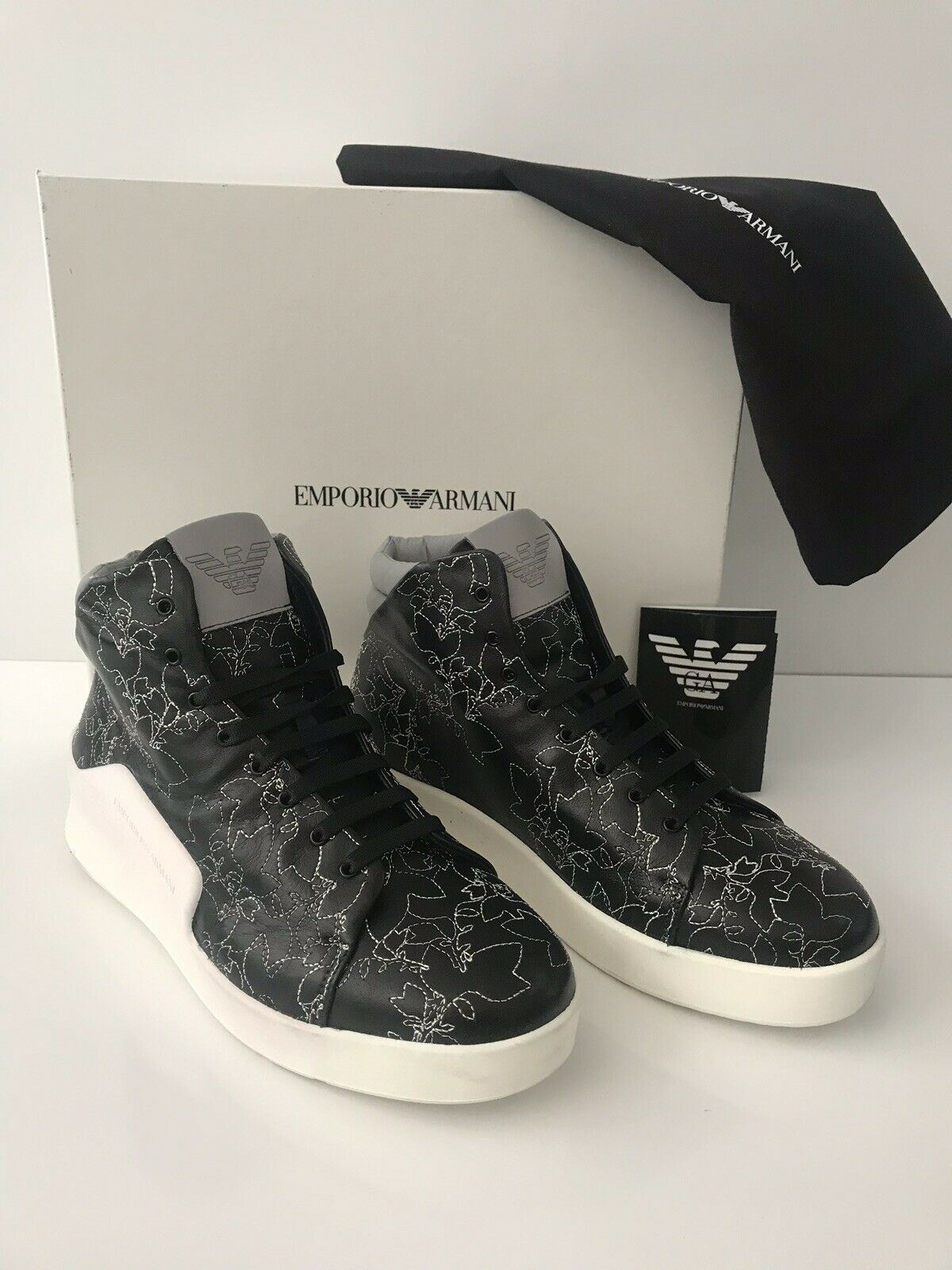 NIB $745 Emporio Armani Men's Floral Hi-Top Leather Sneakers Black 12 US