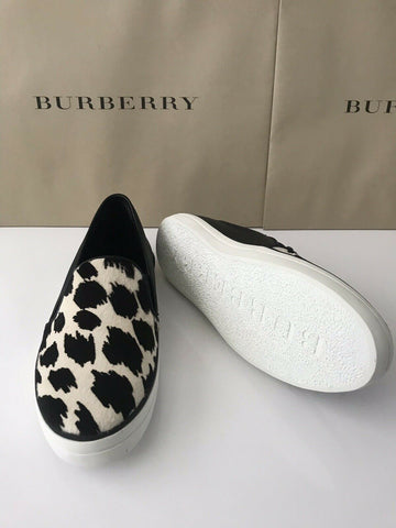 NIB Burberry Women's Gauden Slip On Sneakers Black/White Calf Hair Shoes 40.5 EU