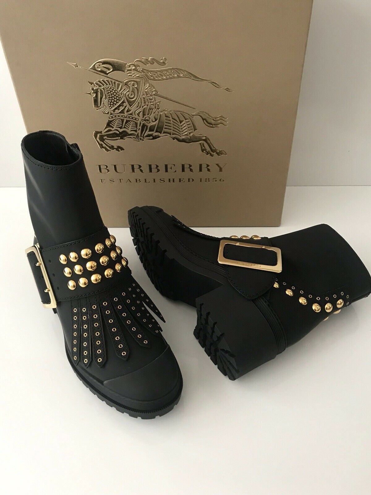 NIB Burberry Whitchester Black Leather Fringe Gold Studded Belted Boots 40.5 EU