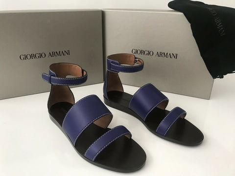 NIB $875 Giorgio Armani Women's Leather Blue Flat Sandals Shoes 37.5 EU Italy