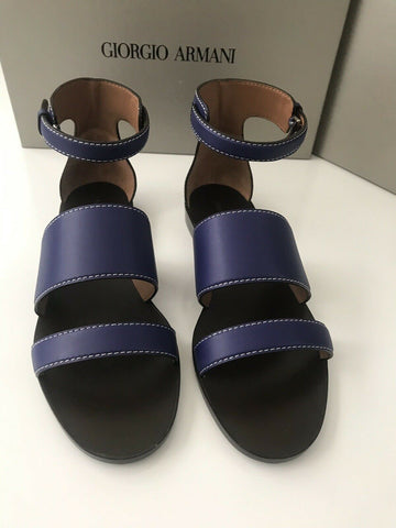 NIB $875 Giorgio Armani Women's Leather Blue Flat Sandals Shoes 38 EU Italy