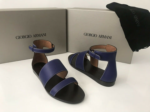 NIB $875 Giorgio Armani Women's Leather Blue Flat Sandals Shoes 39 EU Italy