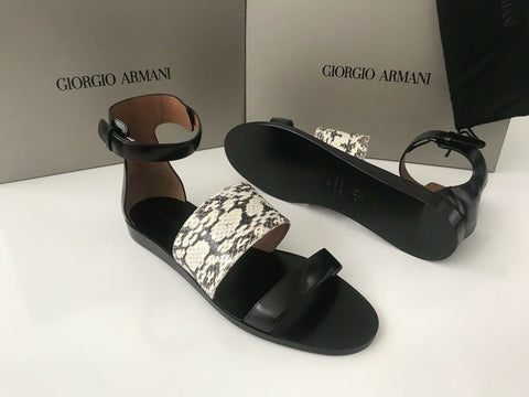 NIB $995 Giorgio Armani Women's Snake Leather Black Sandals Shoes 37.5 EU Italy