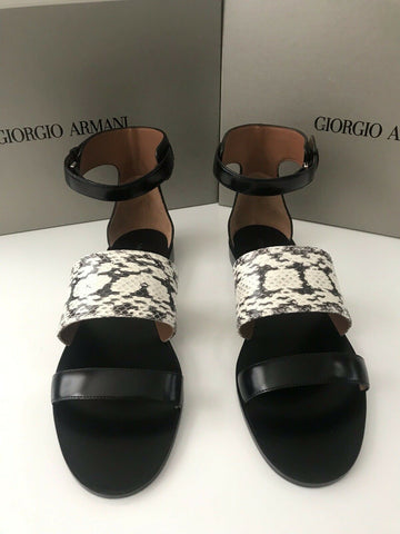 NIB $995 Giorgio Armani Women's Snake Leather Black Sandals Shoes 38 EU Italy