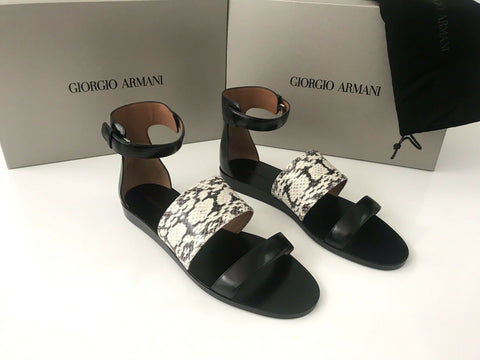 NIB $995 Giorgio Armani Women's Snake Leather Black Sandals Shoes 38.5 EU Italy