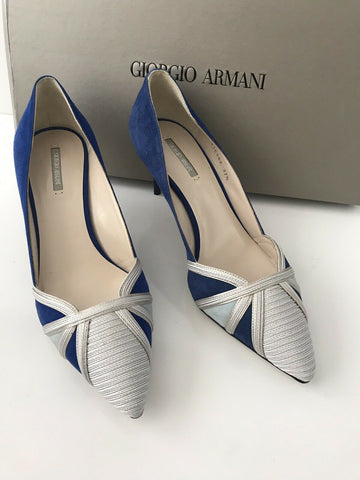 NIB $875 Giorgio Armani Women's High Heel Suede Dress Shoes 7.5 US X1E562 Italy