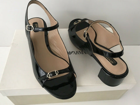 NIB $795 Armani Collezioni Women's Shiny Leather Black Sandals Shoes 36 EU Italy