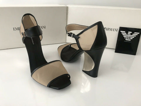 NIB $775 Emporio Armani Women's Mesh Black Transparent  Ankle Strap Sandals 7 US