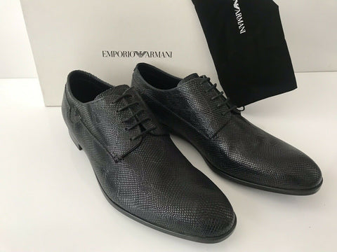NIB $495 Emporio Armani Men's Black Textured Leather Lace Up Shoes 12.5 US