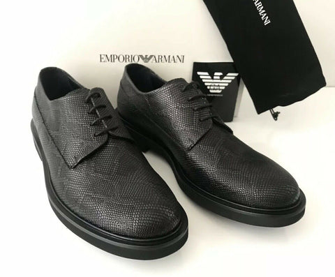 NIB $675 Emporio Armani Men's  Black Snake Print Leather Lace Up Shoes 11 US