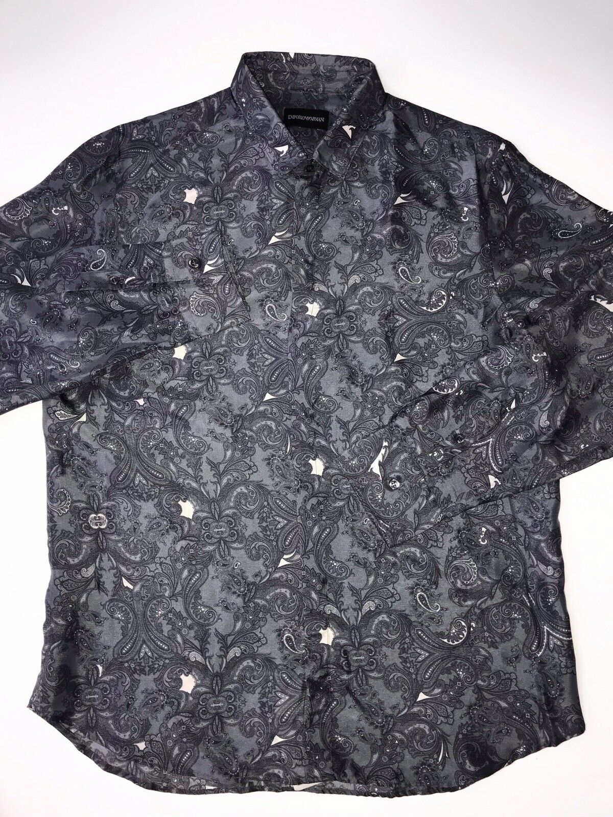 NWT $675 Emporio Armani Men's Gray Silk Dress Shirt Size 39/15.5 T1CC2T