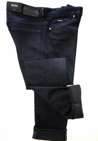 NWT $208 Hugo Boss Mens Delaware3 Slim Fit Cotton Navy Jeans Pants Size 34/32
